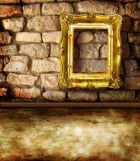 frame on  old brick wall as background