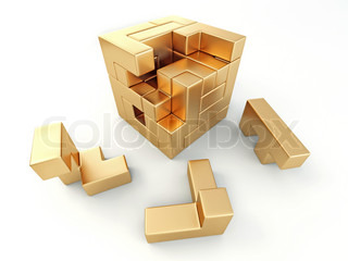 A cube built from blocks puzzle 3d stock photo colourbox for Peculiarity crossword clue