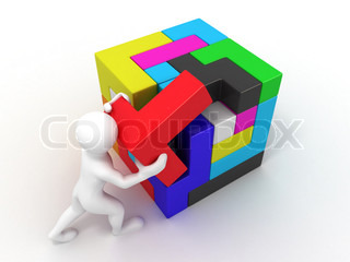 Men with a cube built from blocks puzzle 3d stock for Peculiarity crossword clue