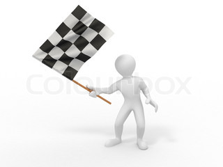 Men with checkered flag. 3d