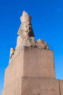Granite sphinx ancient monument on blue sky