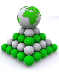 Earth on pyramid from spheres. 3d