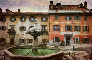 Beautiful Italian village square in decay. More of my images worked together to reflect time and age.