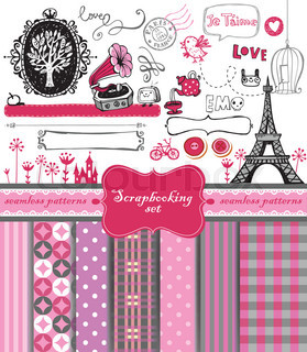 Doodle vintage objects - scrapbook collection.