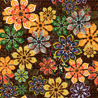 seamless flower pattern on brown texture