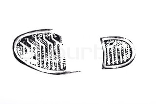 Black print of a trace of a boot