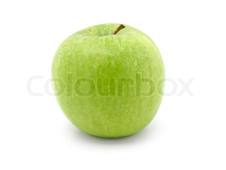 The whole green apple isolated on a white background
