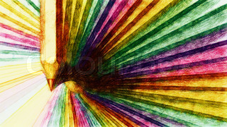 Abstract background with pencils. 3d render with paint effect.