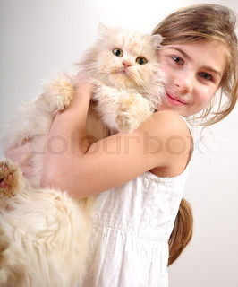 Cute girl with a cat