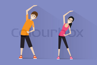 sport fitness couple man and woman exercise workout