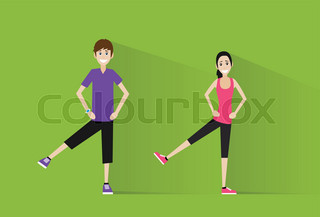 sport fitness couple man and woman exercise