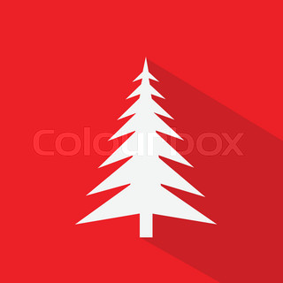 new year white christmas tree over red flat icon design