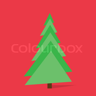new year green christmas tree over red background