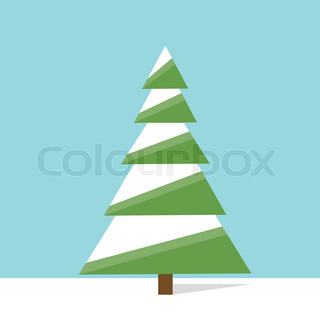 new year green christmas tree flat icon design