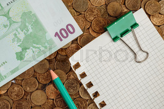 Banknotes of one hundred euros and blank page on coins