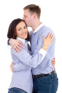 young man and woman hugging isolated on white