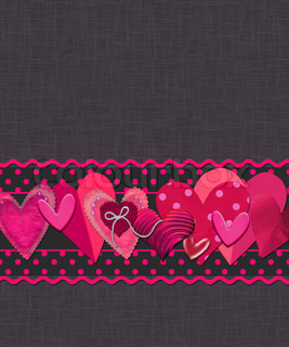 Card with pink hearts for congratulation with Valentines day