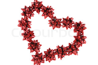 Heart from red bows isolated on white background