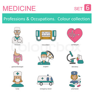 Professions and occupations coloured icon set. Medical. Flat linear design