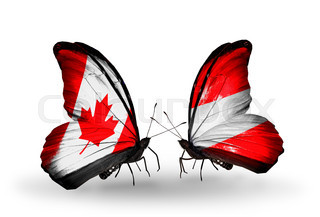 Two butterflies with flags on wings as symbol of relations Canada and Austria