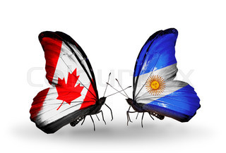Two butterflies with flags on wings as symbol of relations Canada and Argentina