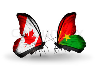 Two butterflies with flags on wings as symbol of relations Canada and Burkina Faso