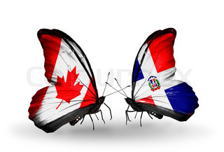 Two butterflies with flags on wings as symbol of relations Canada and Dominicana