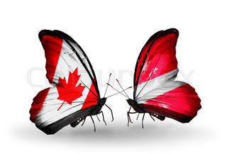 Two butterflies with flags on wings as symbol of relations Canada and Latvia