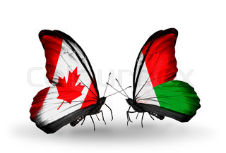 Two butterflies with flags on wings as symbol of relations Canada and Madagascar