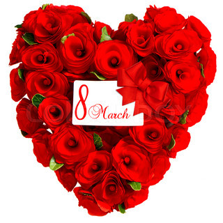 Red heart from rose flowers with white card 8 March