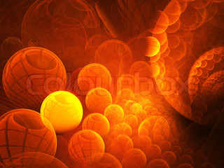Abstract background. Orange - yellow palette. Raster fractal graphics.