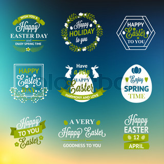Easter labels and badges on blur background