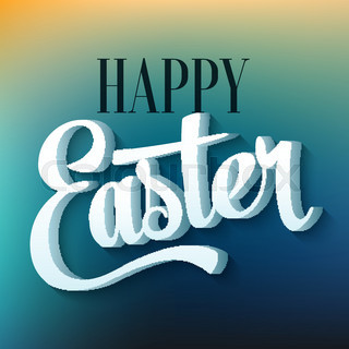Happy easter typography on blur background