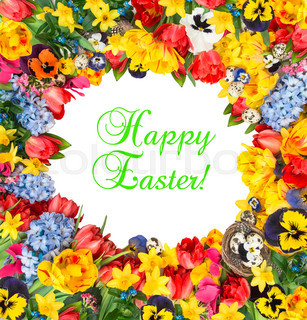 Flower frame over white background with sample text Happy Easter