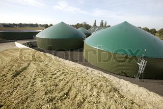 Billede af 'biogasanlæg, buldozer, majs'