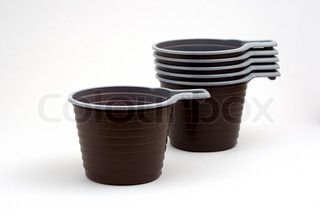 disposable dishes and cups on a white background