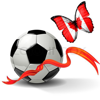Soccer ball with ribbon and butterfly with the flag of  Canada