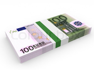Pack of banknotes. One hundred euros.