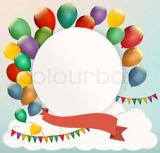 Retro birthday background with colorful balloons. Vector