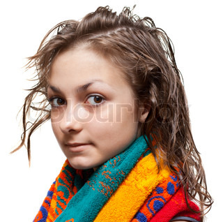 Young girl with wet hair and colour towel on neck, isolat