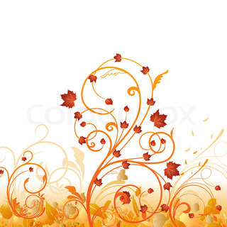 Autumn floral ornament with leaves. Vector