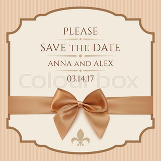 save the date wedding invitation card vintage greeting card template with golden bow and. Black Bedroom Furniture Sets. Home Design Ideas