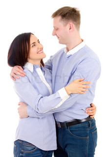 happy young man and woman hugging isolated on white