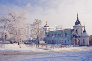 Church in winter. Donetsk Ukraine.