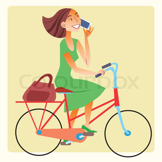 Young woman riding a bike and talking on the smartphone