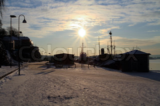 Sunny day in winter at Aker brygge, bright
