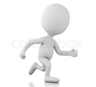 3d white people running. Isolated white background