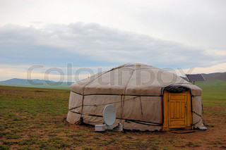 Yurt with solar and satellite in Mongolia