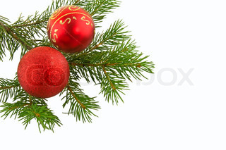 christmas branch  fir tree with red sphere