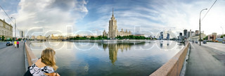panoramic photo of Moscow-city on a bank of a river